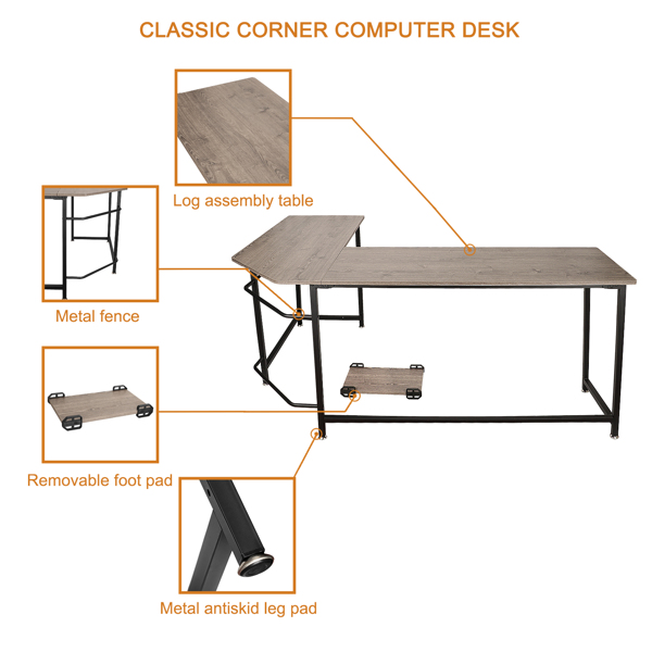 jaime ma maison, one Piece, L-Shaped/Corner Computer Office Wooden Table with Bookshelf