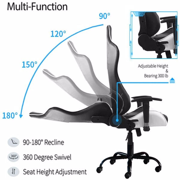 Gaming Chairs, Office Swivel Chairs, Black-White with headrest and Lumbar Pillow