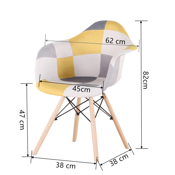 EDLMH Set of 2 ABS PP/Linen/Velvet Fabric Dining Chair with Metal Frame and Natural Beech Wood Chair legs, with Armrest for Dining Room, Living Room, Kitchen, Linen Patchwork C
