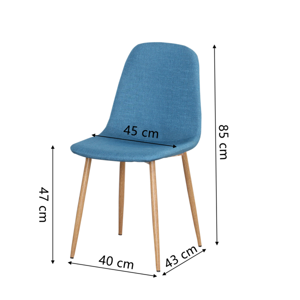 Linen/Leather/Velvet Dining Chair with Burlywood Color Metal Legs for Dining Room, Living Room, Office, Blue