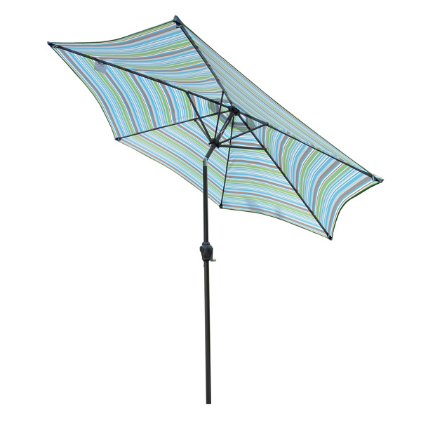 Outdoor Patio 8.6-Feet Market Table Umbrella with Push Button Tilt and Crank, Blue Stripes[Umbrella Base is not Included]