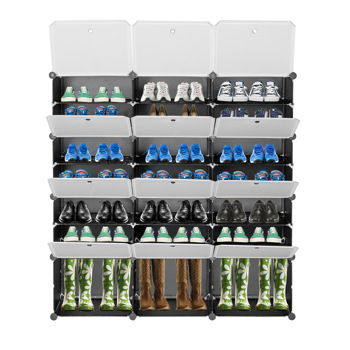 7-Tier Portable 42 Pair Shoe Rack Organizer 21 Grids Tower Shelf Storage Cabinet Stand Expandable for Heels, Boots, Slippers, Black