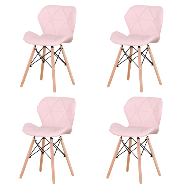Set of 4 Exquisite Modern Ergonomic Design PU Dining Chair with Natural Beech Wood Legs for Dining Room, Office, Living Room, Kitchen, Pink