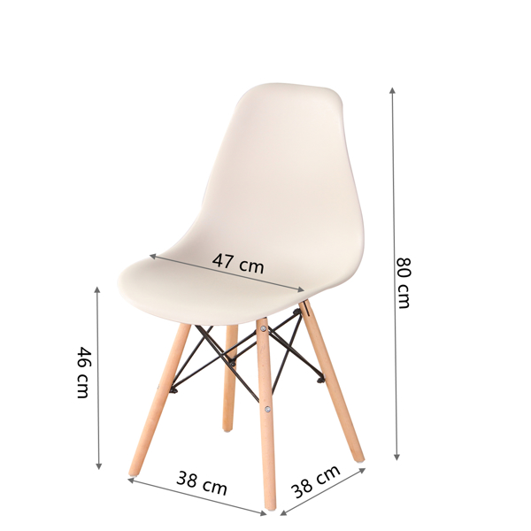 Living Room Chairs/Dining Chairs/Desk Chairs/Office Chairs/Leisure Chairs/Natural Beech Chairs with ABS backrest, a Set of 4,Khaki