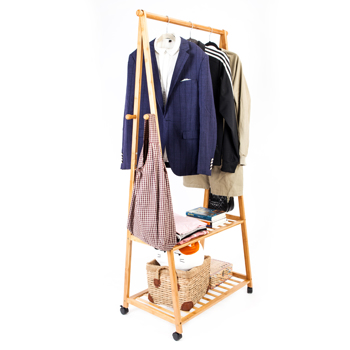 2-layer Portable Practical Storage Clothes Hanger with Wheel Wood Color