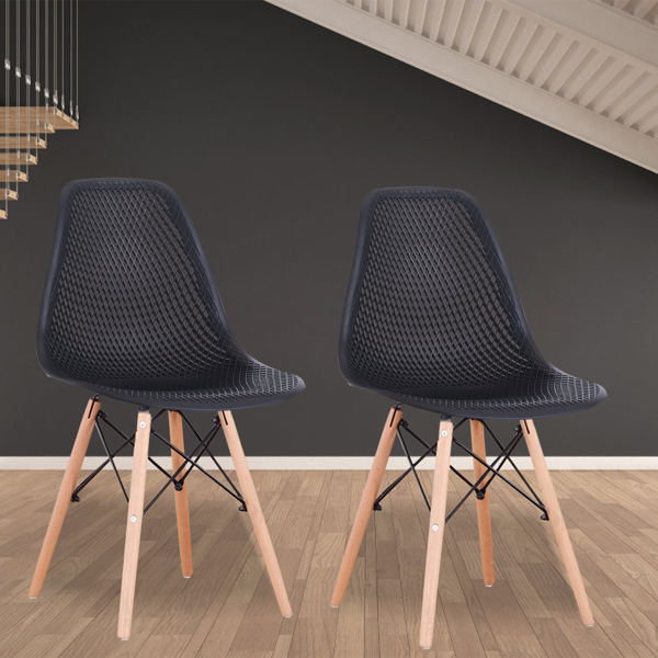 Set of 4 Nordic Classic Dining/Office Chair with Ergonomic design for Kitchen, Dining Room, Living Room, Office,Black