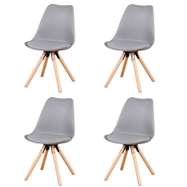 EDLMH Set of 4, Linen/Velvet Fabric/ABS PP Nordic Dining Chair with Beech Wood Legs for Dining Room, Living Room, Office, Bedroom , Gray