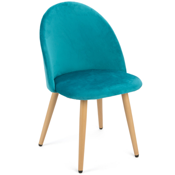 Set of 2 Exquisite Velvet Dining Chair, Kitchen/Bedroom/Lounge Chair with Metal Wood Grain Color Legs, Sky Blue