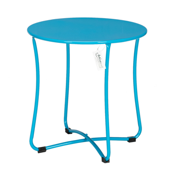 "18"" Metal Countertop Small Round Table Terrace Wrought Iron Side Table Blue"