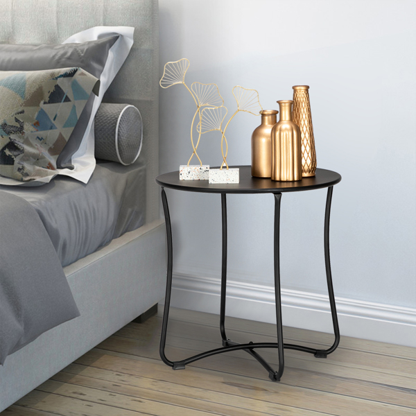 """18"""" Metal Countertop Small Round Table Terrace Wrought Iron Side Table Black"""