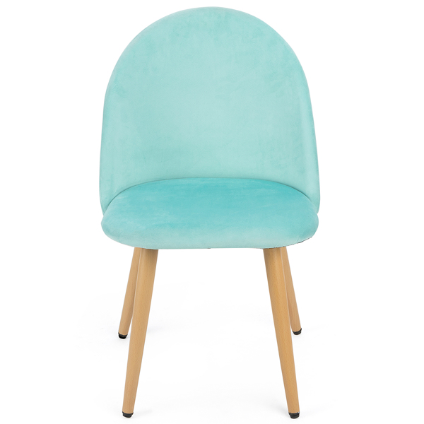 Set of 2 Exquisite Velvet Dining Chair, Kitchen/Bedroom/Lounge Chair with Metal Wood Grain Color Legs, Lake Blue