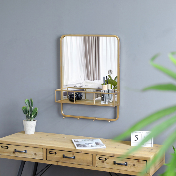 Artisasset 25-Inch High Gold Rectangle With Shelf With Hook Indoor Iron Wall-Mounted Flat Mirror