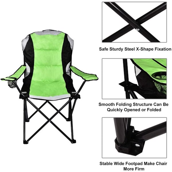 600D Oxford PVC powder coated portable folding chair, steel tube frame camper chair, 350 lbs, net weight 9.3 lbs, with cup holder and pad