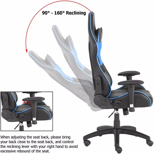 Gaming Chairs, Office Swivel Chairs, with headrest and Lumbar Pillow, Blue-B