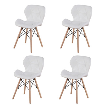 Set of 4 Exquisite Modern Ergonomic Design PU Dining Chair with Natural Beech Wood Legs for Dining Room, Office, Living Room, Kitchen, White