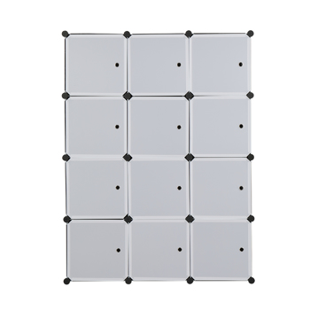 12 Cube Organizer Stackable Plastic Cube Storage Shelves Design Multifunctional Modular Closet Cabinet with Hanging Rod White Doors and Black Panels