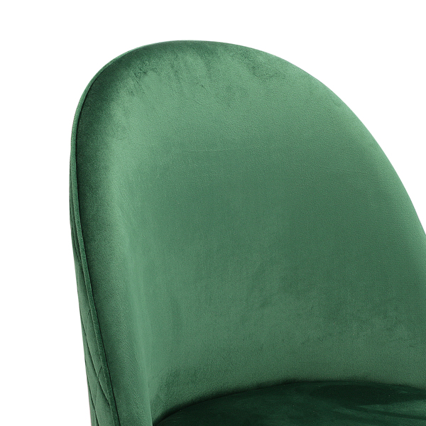 Set of 2 Exquisite Velvet Dining Ear Chair, Kitchen/Bedroom/Lounge Chair with Metal Wood Grain Color Legs, Green C