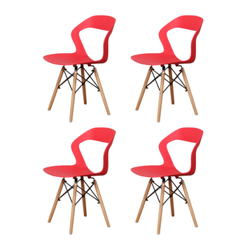 Living Room Chairs/Dining Chairs/Desk Chairs/Office Chairs/Leisure Chairs/Natural Beech Chairs with ABS backrest, a Set of 4,Red