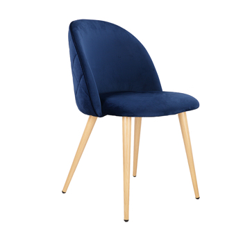 Set of 2 Exquisite Velvet Dining Ear Chair, Kitchen/Bedroom/Lounge Chair with Metal Wood Grain Color Legs, Blue A