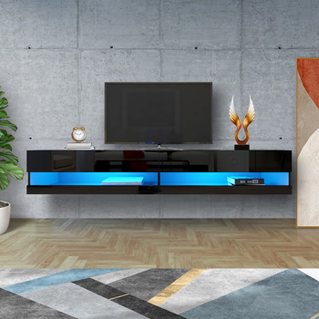"""180 Wall Mounted Floating 80"""" TV Stand with 20 Color LEDs Black"""