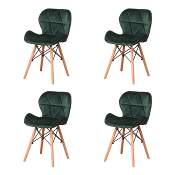 Set of 4 Exquisite Modern Ergonomic Design PU Dining Chair with Natural Beech Wood Legs for Dining Room, Office, Living Room, Kitchen, Green
