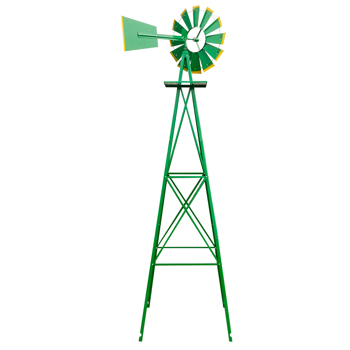 8FT Weather Resistant Yard Garden Windmill Green