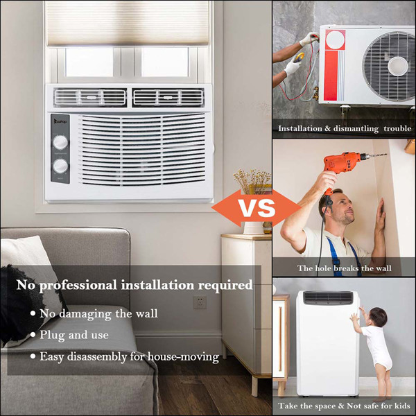 ZOKOP 5000BTU WAC-5000 110V 540W Air Conditioner White ABS Window Type Refrigeration/Energy Saving/Fan/Dehumidification Portable All-in-One