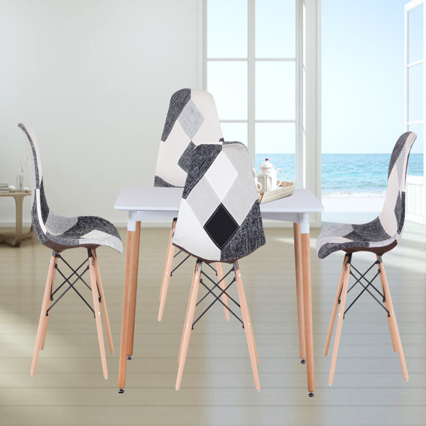 Living Room Chairs/Dining Chairs/Desk Chairs/Office Chairs/Leisure Chairs/Natural Beech Chairs with ABS backrest, a Set of 4, Black-white