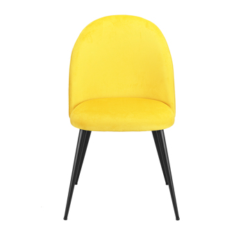 Set of 2 Exquisite Velvet Dining Ear Chair, Kitchen/Bedroom/Lounge Chair with Metal Wood Grain Color Legs, Yellow C