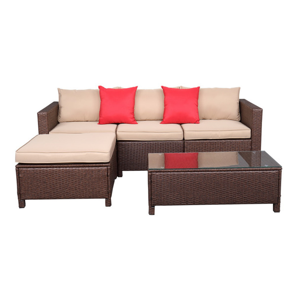 Oshion 5-Piece Set Rattan Sofa Hanging Legs 2 Corners  1 Sofa Without Armrests  1 Foot Drag  1 Rectangular Coffee Table Brown   Package-3 (Total Three Boxes)