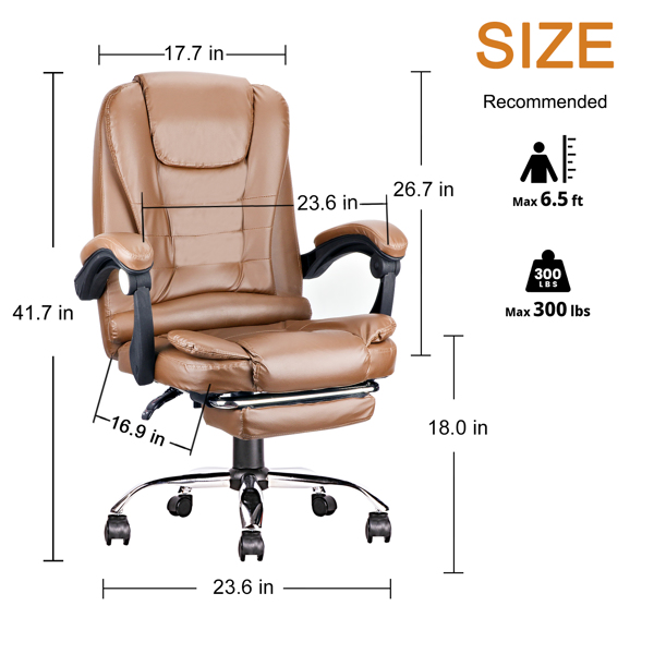 Ergonomic Executive Office Swivel Chair, Gaming Chair, Computer Chair, high Back, Adjustable Height and Angle, Amber