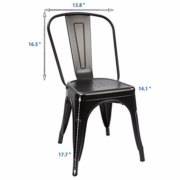 a Set of 4, Navy Chairs, Metal Chairs, Dining Chairs, Restaurant/Beach Chairs, Black