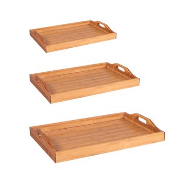Tray With Handles, Three Piece Suit, Wood Color
