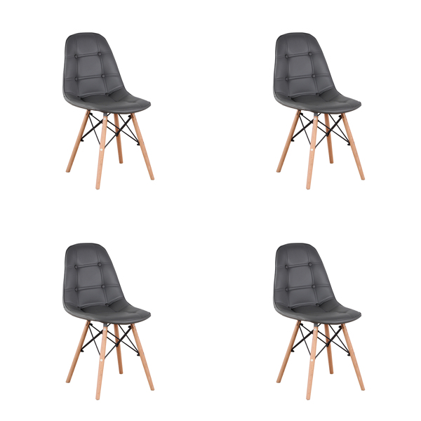 Set of 4 PU Leather/Velvet Ergonomic Dining Chair with Metal Frame and Beech Wood Legs for Dining Room, Office, Living Room, Bedroom, Gray