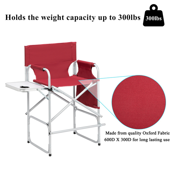 Silver White Iron Pipe Red Cloth Surface Plastic Sprayed Iron Round Pipe Director's Chair 103*60*49cm 120kg Without Carrying Bag