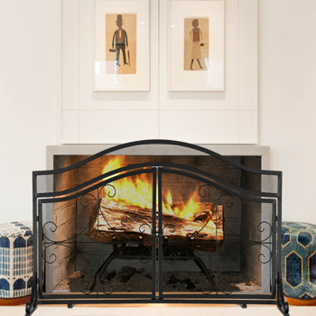 Artisasset Black With Magnetic Double Door With Diamond Pattern Barbecue Living Room Decoration Wrought Iron Fireplace Screen