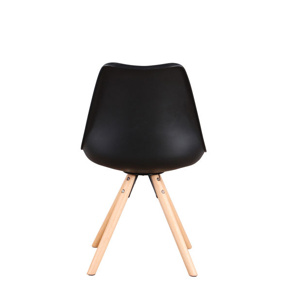 EDLMH Set of 4, Linen/Velvet Fabric/ABS PP Nordic Dining Chair with Beech Wood Legs for Dining Room, Living Room, Office, Bedroom , Black