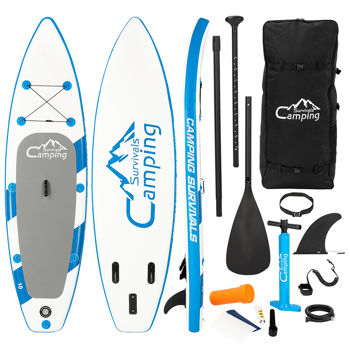 11 Feet PEXMOR Paddle Board Inflatable Surfboard Blue and White