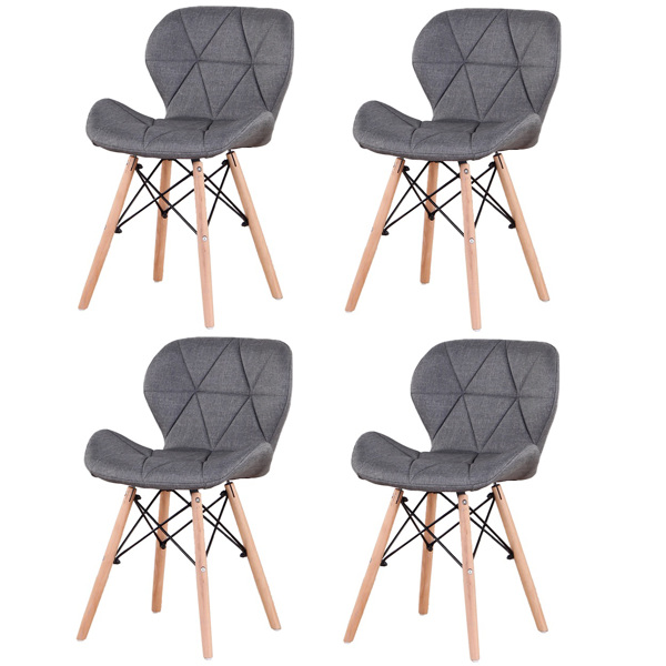 EDLMH Set of 4 Exquisite Modern Ergonomic Design Dining Chair with Natural Beech Wood Legs for Dining Room, Office, Living, Room, Kitchen, Gray