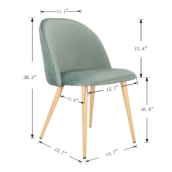 Set of 2,  Exquisite Velvet Dining Ear Chair, Kitchen/Bedroom/Lounge Chair with Metal Wood Grain Color Legs, Dark Green A