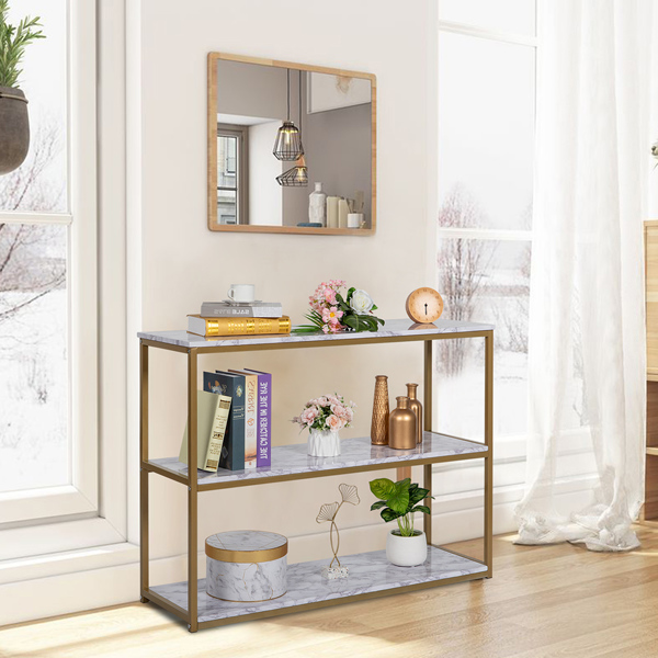 3-Tier Console Sofa Table, Industrial Table for Living Room, Entry Way, Hallway