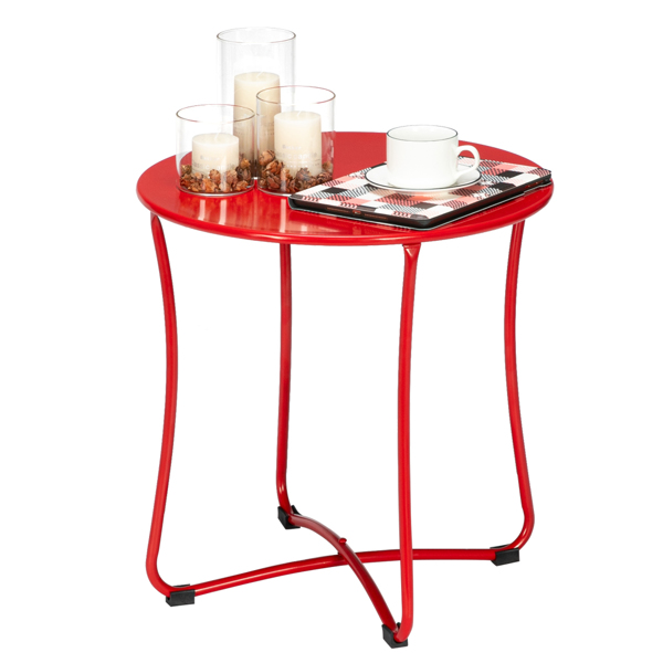"""18"""" Metal Countertop Small Round Table Terrace Wrought Iron Side Table Red"""