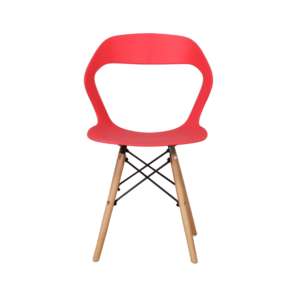 Living Room Chairs/Dining Chairs/Desk Chairs/Office Chairs/Leisure Chairs/Natural Beech Chairs with ABS backrest, a Set of 4, Red