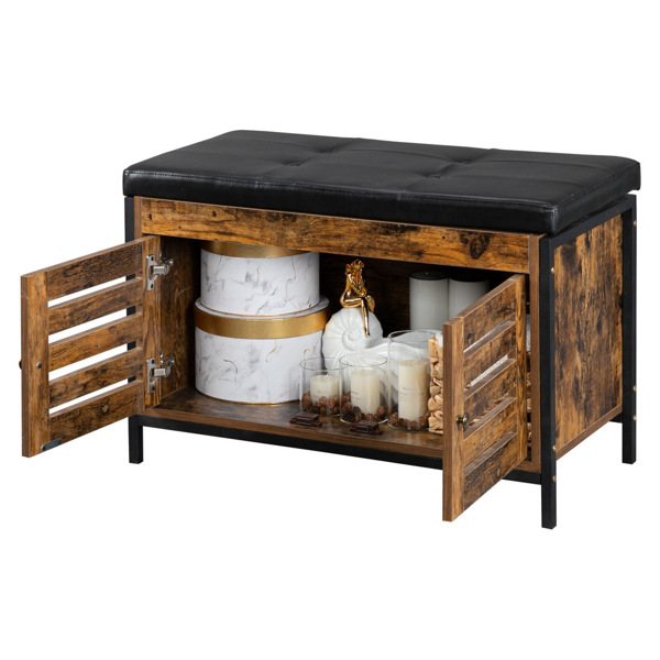 Storage Bench, Industrial Shoe Entryway Bench, Bed End Stool Storage Chest Dining Bench Coffee Table for Hallway, Bedroom, Living Room, Dining Room