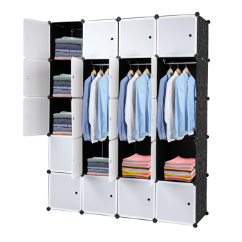 20 Cube Organizer Stackable Plastic Cube Storage Shelves Design Multifunctional Modular Closet Cabinet with Hanging Rod White Doors and Black Panels