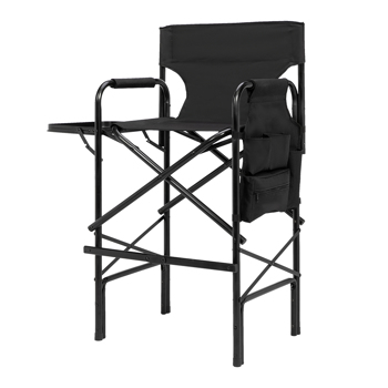 Plastic Sprayed Aluminum Round Tube Oxford Cloth Director Chair 114*60*49cm 120kg With Carrying Bag Black