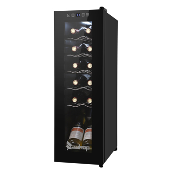 ZOKOP  JC-34 115V 85W 1.2cu.ft/34l  Electronic Wine Cabinet Cold Rolled Sheet Transparent Glass Door / 12Bottle with Display Black