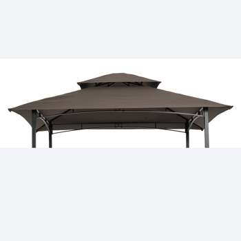 8x5Ft Grill Gazebo Replacement Canopy,Double Tiered BBQ Tent Roof Top Cover,Brown