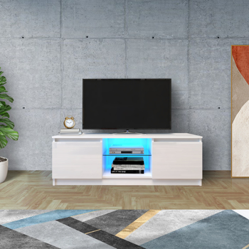 TV Cabinet Wholesale, White TV Stand with Lights, Modern LED TV Cabinet with Storage Drawers, Living Room Entertainment Center Media Console Table
