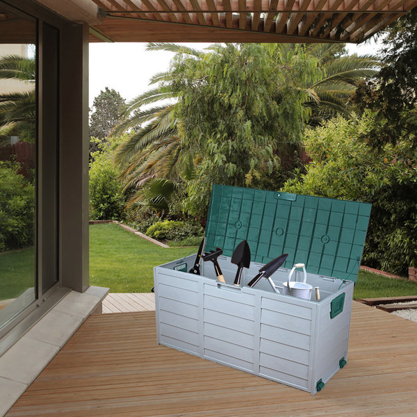 75gal 260L Outdoor Garden Plastic Storage Deck Box Chest Tools Cushions Toys Lockable Seat